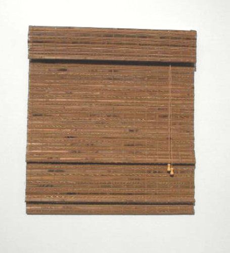 Radiance Havana Indoor/Outdoor Woven Wood Bamboo Roman Shade with 6 in. Valance