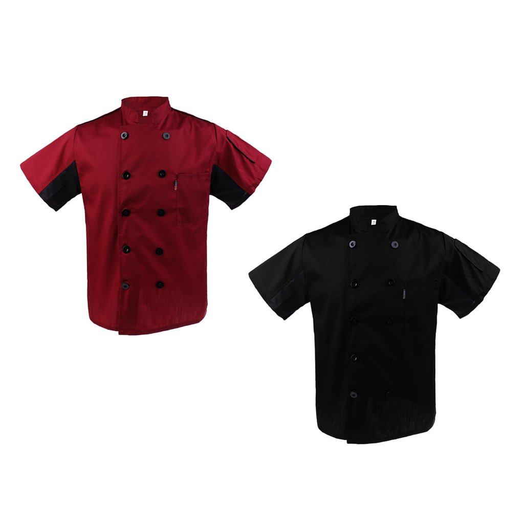 2x Abrigo de Poli Algodon Uniforme de Camarero Chef Unisex Hotel ...