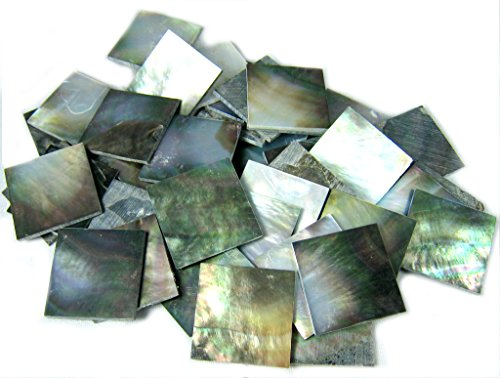 150 Pieces 2cm(0.78'') Square Sea Black Abalone Shell. One Side Polished. For Mosaic Art Tiles, Musical Instrument Inlay. ()