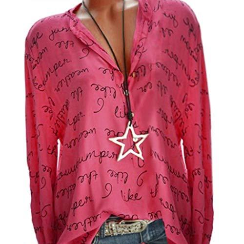 (Seaintheson Women Blouse Women Long Sleeve Letter Shirt Plus Size V-Neck Button Pullover Casual Tops Blouse)