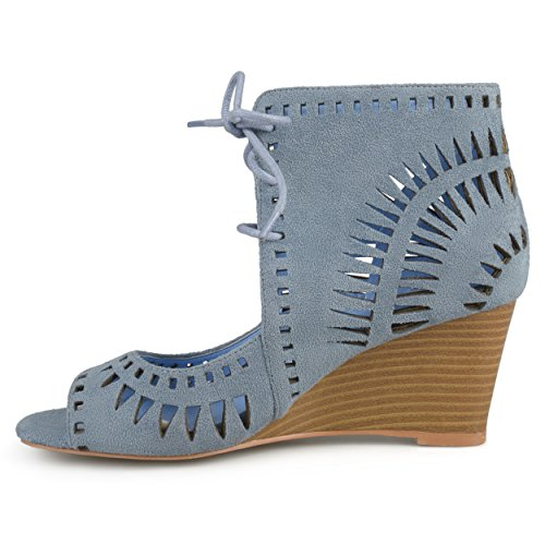 Journee Collection Womens Lace-up Laser Cut Wedges Blue 5RwvfWQaGL