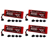 Venom Sport Power 40C 2S 5000mAh 7.4V LiPo Battery ROAR with Universal Plug (EC3/Deans/Traxxas/Tamiya) x4 Packs
