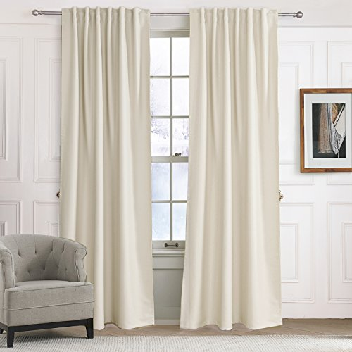 Blackout Curtains Solid Beige/Off White/Light Yellow Drapes   Anady  Insulated Thermal Room Darkenging Set Of 2 Panels Curtains Tie Back Drapes  84 Inch Long Part 90