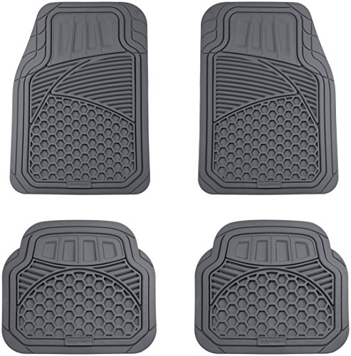 (AmazonBasics 4 Piece Heavy Duty Car Floor Mat, Gray)