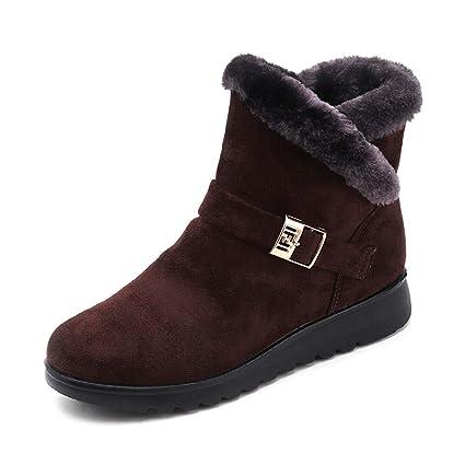 JiaMeng Mujer Retro Otoño Invierno Botines de Moda de Nieve Planas de Terciopelo Alto Calentar Botas De Nieve Anti-Deslizante Lazada Zapatos Botas de ...