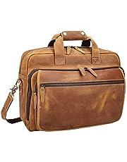 """Polare Men's Full Grain Leather 17"""" Laptop Briefcase Shoulder Bag Brown Light Brown Large"""