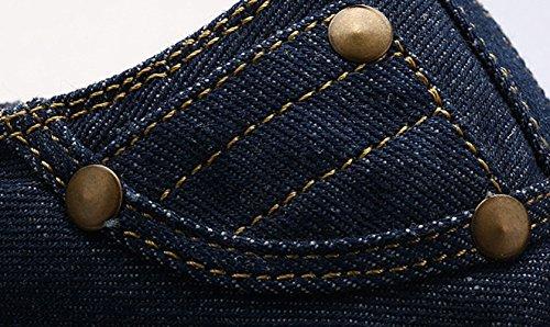 Geruite & Effen Unisex Heren Dames Lace-up Laag Boven Canvas Espadrilles Stof Cap Teen Casual Flats Sneaker Schoenen Blauw
