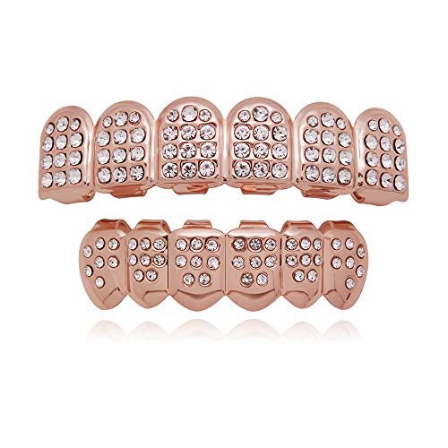 LuReen 14k Gold Plated Iced Out Grills with Diamond Hip Hop Teeth Top and Bottom Set (Rose Gold)