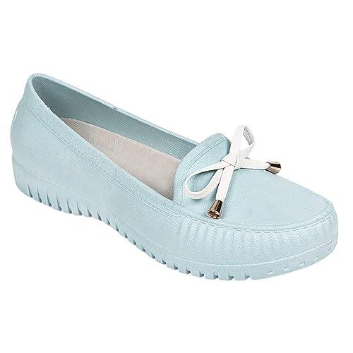 Gtagain Mujer Zapatos de Lluvia Mocasines Plano - Punta Redonda Seguridad Calzado de Trabajo Casual Suave Confortable Antideslizante Impermeable Zapatos de ...