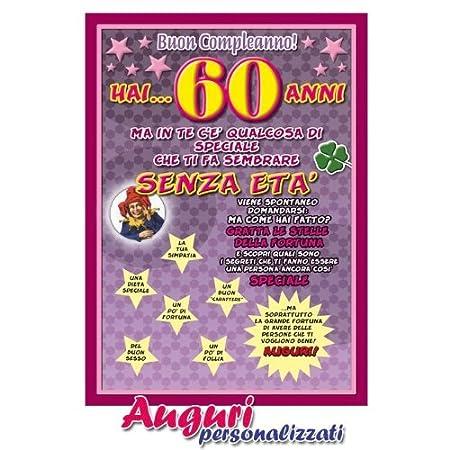 Popolare Cartolina compleanno auguri 60 anni: Amazon.it: Giochi e giocattoli QR37