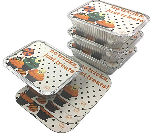 45 Pack- SMALL Size, 1LB Aluminum Food Containers with Lids Printed I To Go Aluminum Foil Trays I Take Away Food I Disposable Aluminum Pans I Foil Food Trays From Spare 1Lb Capacity 5.9''x4.7''x1.8'' -