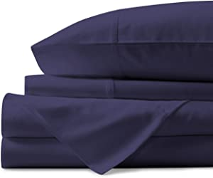 Comfy Sheets 100% Egyptian Cotton Sheets- 1000 Thread Count 4 Pc Queen Sheets Cotton Plum Bed Sheet with Pillowcases, Hotel Quality Fits Mattress Up to 18'' Deep Pocket.