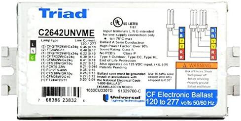 TRIAD Box of 20 Universal C2642UNVME 120//277V Compact Fluorescent Electronic Ballast 2 Lamp CFL 2.31X4.94X1