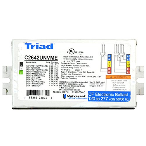 TRIAD Box of 20 Universal C2642UNVME 120/277V Compact Fluorescent Electronic Ballast, 2 Lamp CFL 2.31X4.94X1
