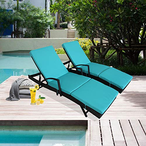 Outdoor Rattan Armed Lounge Chair Patio Wicker Garden Furniture Black Beach Swimming Pool Use Sunbed 2 Chairs and 2 Turquoise Cushions and Covers