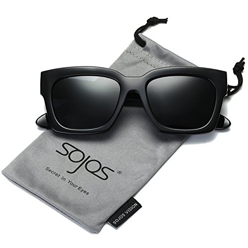 SojoS Square Polarized Sunglasses Oversized Plastic Frame Mirrored Lenses SJ2027 Black Frame/Grey - Square Women Sunglasses For