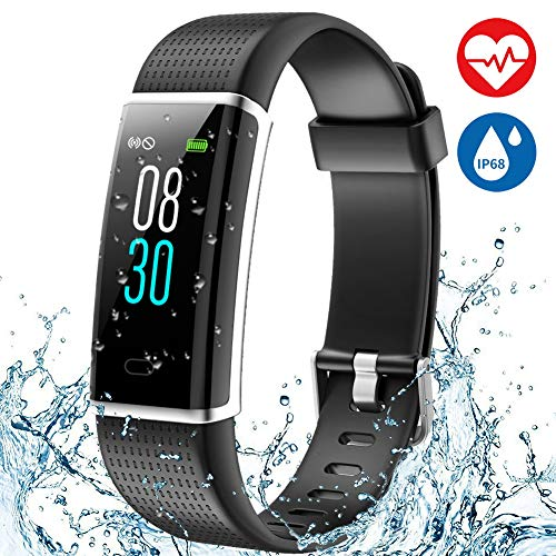 Aneken Fitness Tracker Heart Rate Monitor Watch Activity Tracker with Color Screen IP68 Waterproof Smart Watch Sleep Monitor 14 Sports Mode Pedometer Watch for Kids Women and Men (Black)