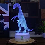 Dinosaur Illusion Night Light for Kids Birthday Gifts Optical Desk Lamp Table Touch Nursery Walking Animals Party Western Children Room Decor 7 color Changing USB Crackle Baryonyx New Year 2018