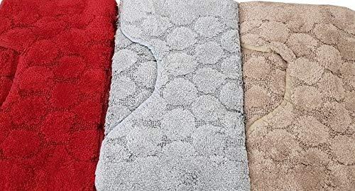 Bluette, Set 3 Pezzi SpazioTessile Tappeto Bagno Set 3 Pezzi 4 Mis in Cotone Tinta Unita Made in Italy Bolle
