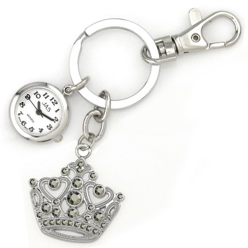 JAS Unisex Novelty Belt Fob/Keychain Watch Crown Silver Tone