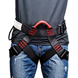 Thicken Climbing Harness, Weanas Protect Waist Safety Harness, Wider Half Body Harness for Mountaineering Fire Rescuing Rock Climbing Rappelling Tree Climbing (Black)