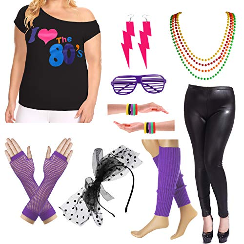 Plus Size 80s Fancy Outfit Costume Set with Leather Leggings for Womens (3X/4X, Purple) -