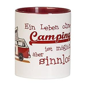 Hochwertige Zweifarb-Kaffeetasse EIN LEBEN OHNE CAMPING mit Campingbus Design in weinrot für Camping und Büro…