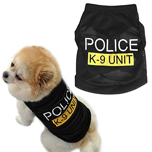 Acaciafashion Pet Dog Black Police K-9 Unit Vest T-Shirt Puppy Cat Apparel Costume - Black S (Costumes For Puppies)