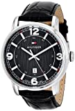 Tommy Hilfiger Men's 1710342 Black Dial Watch With Black Leather Band