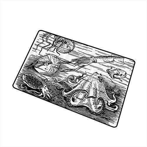 - Modern Door mat Octopus Decor Collection Marine Wildlife Print Animals with Tentacles Octopus Squid Shrimp Ocean Nature Decor W30 xL39 Durable Black White