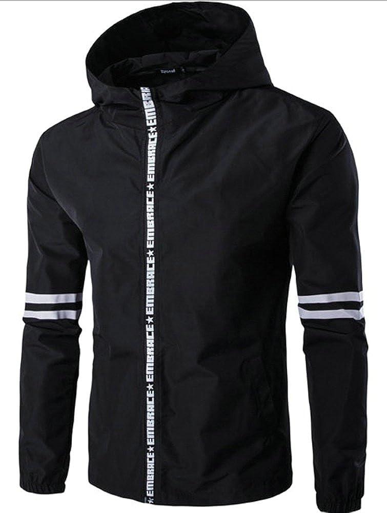 Ffox Mens Fashion Stripe Hoodies Lightweight Outdoor Sports Jackets