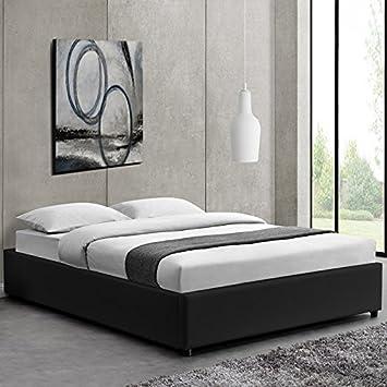 Lit Design Noir Avec Sommier 140 X 190 Cm Nocta Amazon Fr