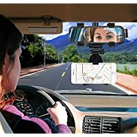 Die Hard Anti Shake Fall Prevention 360 Degree Rotation with Anti-Vibration Pads Car Rear-View Mirror Mount Stand Upto 6.5 inch Mobiles