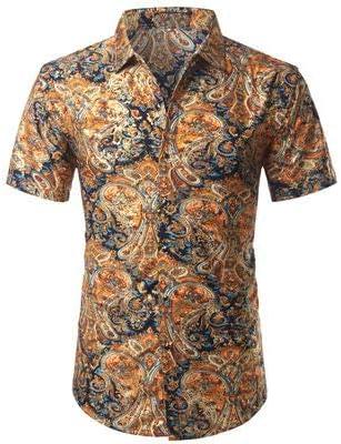 LFNANYI Oro Impreso Floral Camisas de los Hombres Nueva Camisa de Seda de los Hombres de Manga Corta Slim Fit Camisas de Vestir para Hombre L 826 Naranja: Amazon.es: Deportes y aire