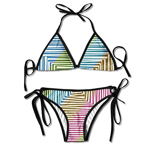 Kasiola Women's Thong Bikini Suit Swimsuit Psychedelic Square Pattern Sexy Bikini Set 2 Piece ()