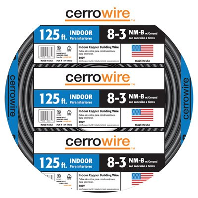 Cerrowire 147-4003D 125-Feet 8/3 NM-B Stranded with Ground Wire, Black