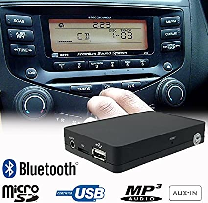 Stereo Bluetooth Handsfree A2DP USB SD AUX MP3 WMA CD Changer Adapter Interface Car Kit for Honda Accord Civic CRV CRZ FRV Insight Jazz S2000