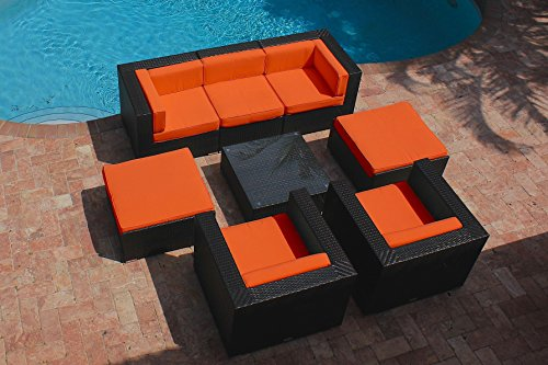 AKOYA Wicker Collection 8 Piece Outdoor Patio Furniture Modern Sofa Couch Sectional Modular Set (Orange)