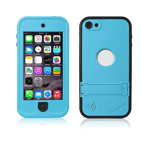 Efanr iPod 5 iPod 6 Case, Waterproof iPod Touch Defender Dustproof Sweatproof Case Cover with Kickstand Touch Screen for Apple iPod Touch 5th & 6th Generation (Grass Blue)