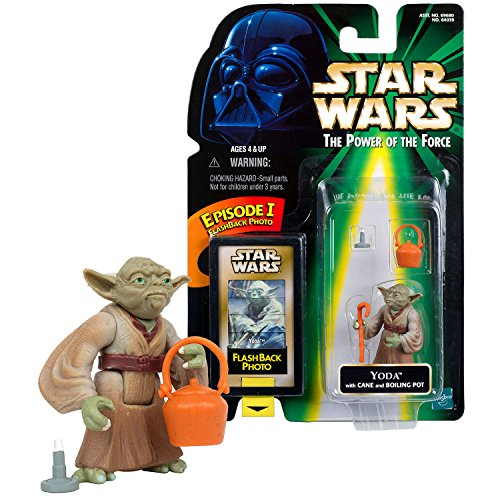 (SW Star Wars Year 1998 Power of The Force Series 2 Inch Tall Figure - YODA with Cane Stick and Boiling Pot Plus Episode I Flashback Photo)