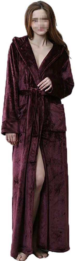 Fleece Bathrobes for Women Long, Adult Hooded Robes Flannel, Ladies House Nightgown Pajamas