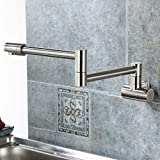 Wall Mount Rotatable Pot Filler Combo Set Pre Rinse Kitchen Faucet Single Handle Two Holes Nickel Brushed Finish