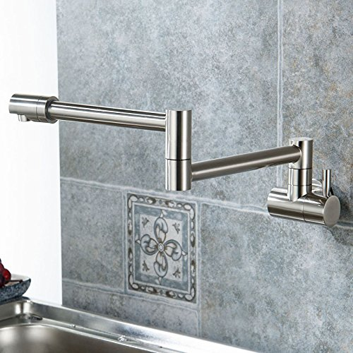 - Wall Mount Rotatable Pot Filler Combo Set Pre Rinse Kitchen Faucet Single Handle Two Holes Nickel Brushed Finish