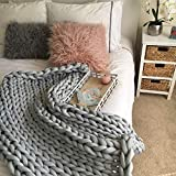 Cotton tube chunky knit blanket - Braid Vegan yarn filled with hollowfiber super giant hand Knitted throw - Thick extreme Arm knitting- Christmas Birthday Gift - Machine washable