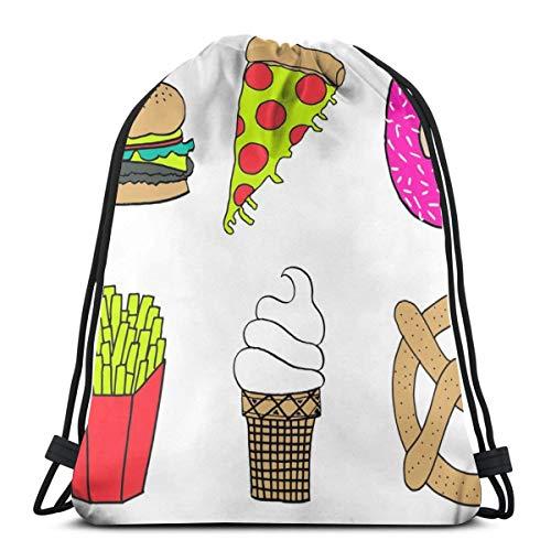 (Plush Food Sampler Mixed Food Fries Burger Pretzel Lightweight Drawstring Bag Sport Gym Sack Bag Backpack 17 X 14 Inch)