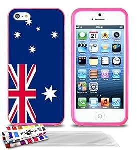 """MUZZANO carcasa blanda Ultra-Slim Rosa para Apple iPhone 5S alta calidad exclusivo diseño original de la bandera Australia 3 Protectores de pantalla transparente """"UltraClear"""" PEN 1 y 1 PAÑO MUZZANO OFRECIDOS"""