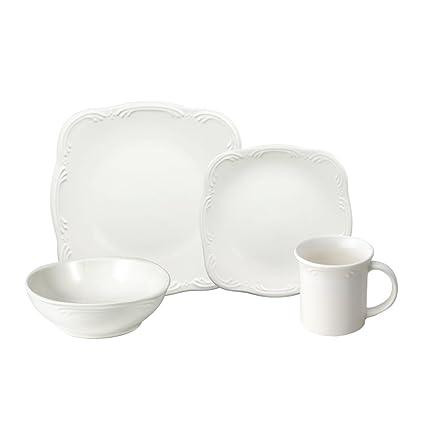 Amazon.com | Pfaltzgraff Filigree Square Dinnerware Set (16 Piece ...