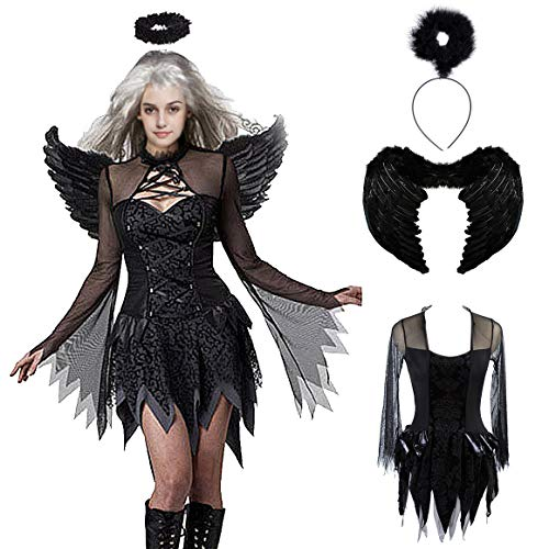 (DevilFallen Angel Dress Costume Black Angel Corset Costume Angel Costume Accessory Kit Halloween Cosplay Sexy)