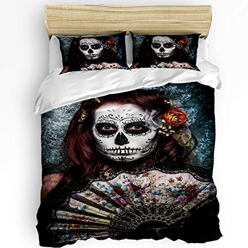 Day of The Dead 3 Piece Bedding Set Comforter Cover Full Size, Make up Artist Girl with Dead Skull Scary Mask Roses Artwork, Duvet Cover Set with Zipper Closure for Childrens/Kids/Teens/Adults -