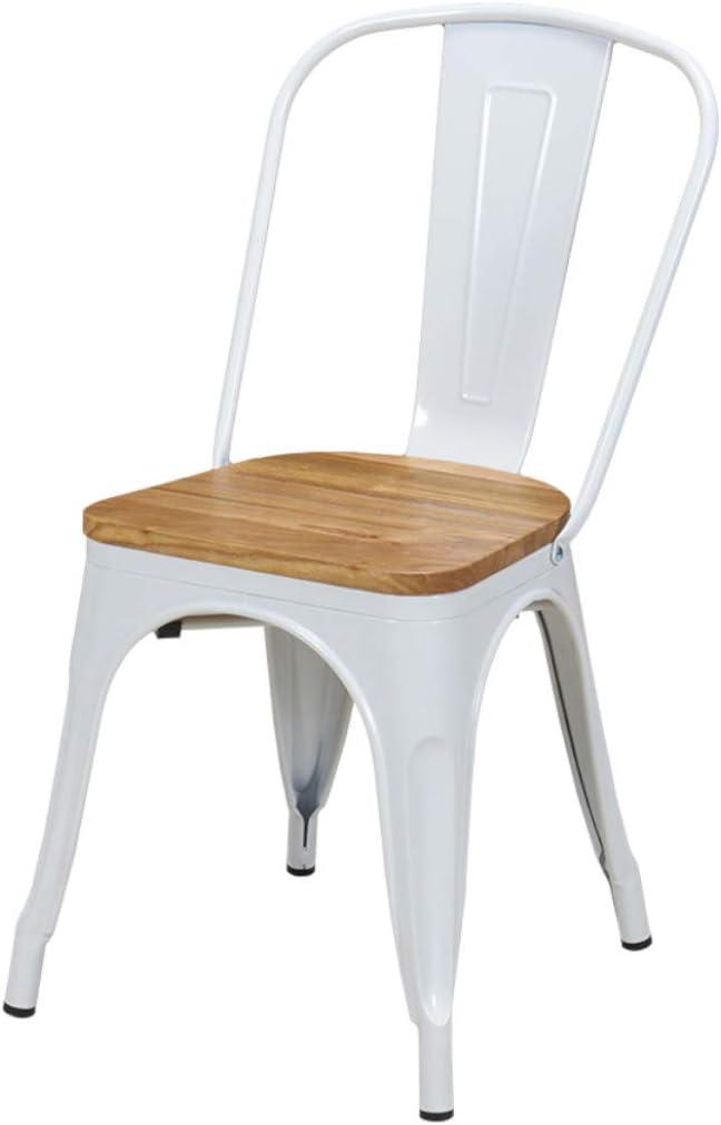 Duhome 1x Chaise de Salle à Manger Chaise de Cuisine en Fer/métal sélection de Coleur- empilable WY-666, Couleur:Blanc + Bois Clair, matière:métal